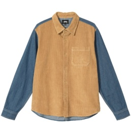 stussy-cord-denim-mix-shirt-khaki-front