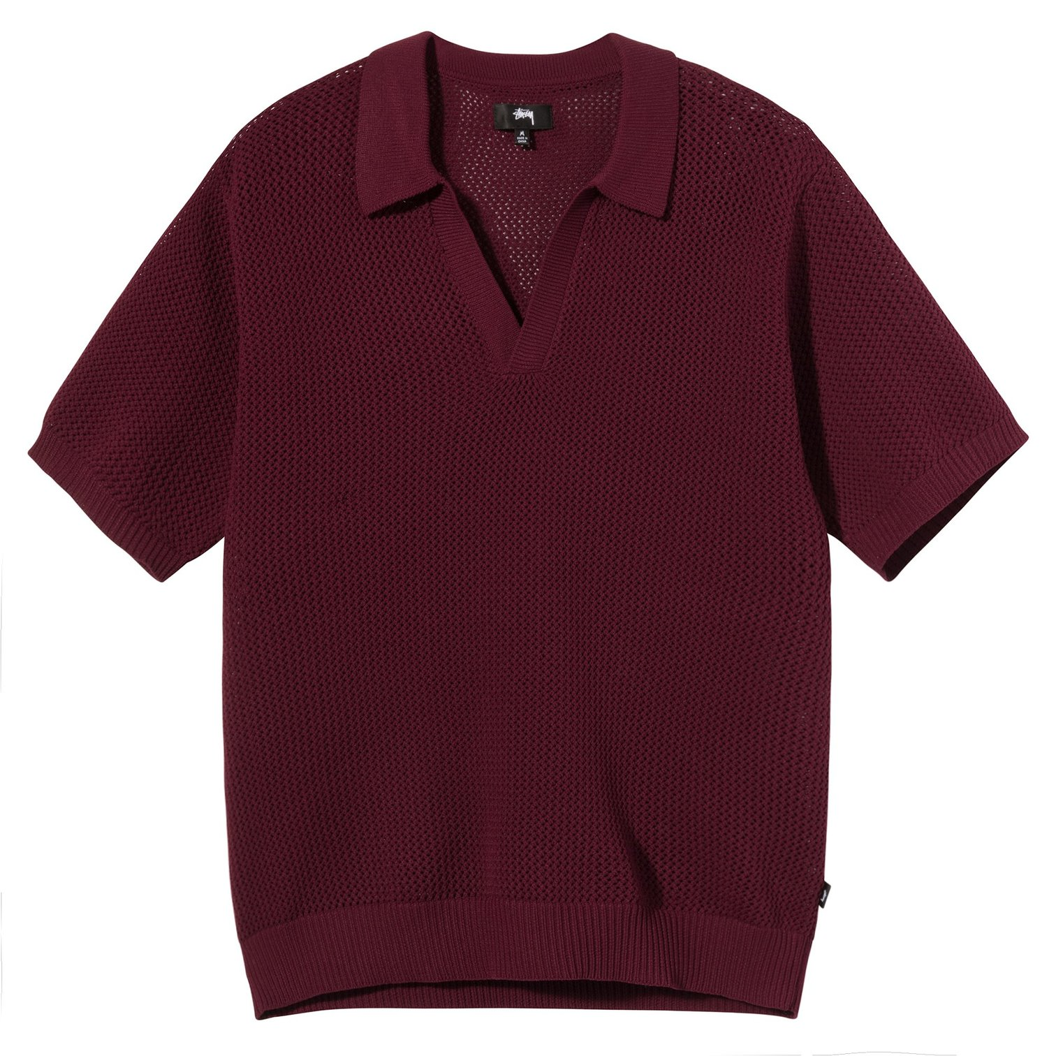 stussy-cable-mesh-ss-polo-maroon-front