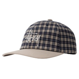 stussy-plaid-2-tone-low-pro-cap-off-white
