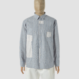 universal-works-patched-shirt-blue-ecru-front